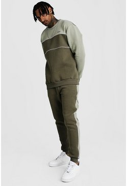 Sage Original MAN Tonal Colour Block Sweater Tracksuit