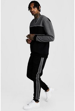Mens Black Original MAN Tonal Colour Block Sweater Tracksuit