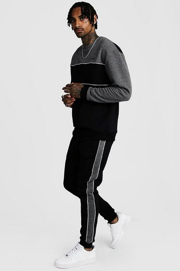 Black Original MAN Tonal Colour Block Sweater Tracksuit