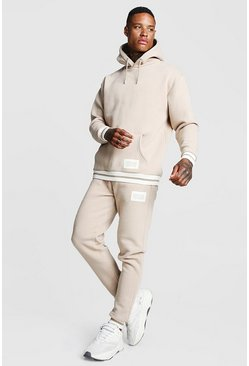 Herr Taupe MAN Print Hooded Tracksuit With Contrast Rib