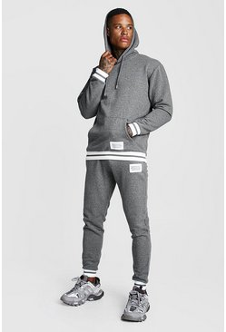 Charcoal MAN Print Hooded Tracksuit With Contrast Rib