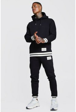 Mens Black MAN Print Hooded Tracksuit With Contrast Rib