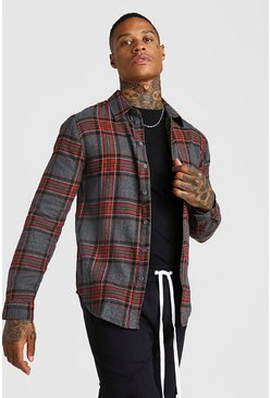 Mens Grey Long Sleeve Brushed Check Shirt