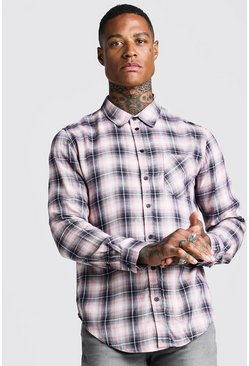 Mens Pink Long Sleeve Cotton Check Shirt