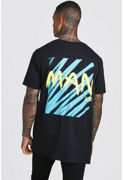 Mens Black Oversized Graffiti MAN Back Print T-Shirt