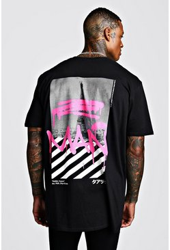 Black Oversized MAN Graffiti Print T-Shirt