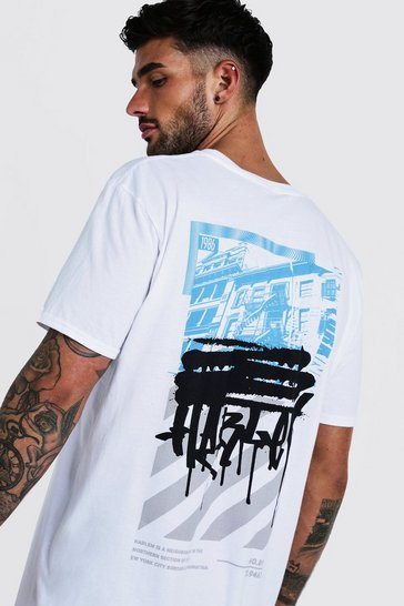 Mens White Oversized Graffiti Back Print T-Shirt