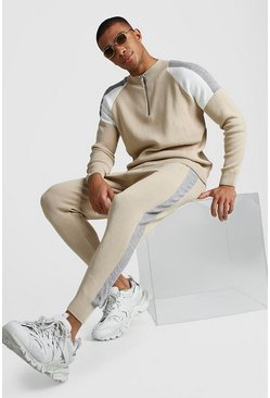 Mens Stone Colour Block Half Zip Funnel Jumper & Jogger Set
