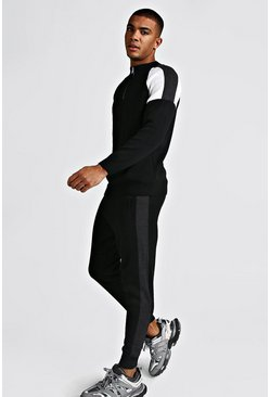 Mens Charcoal Colour Block Half Zip Funnel Jumper & Jogger Set