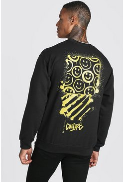 Mens Black Graffiti Back Print Sweatshirt