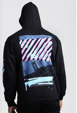 Herr Black Drop Shoulder Graffiti Back & Sleeve Print Hoodie