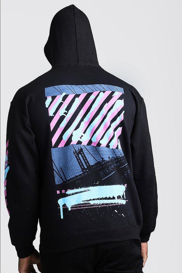 Sleeve Print Hoodie | Boohoo
