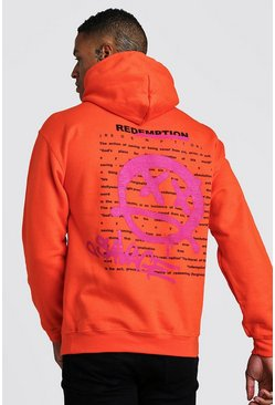 Herr Orange Graffiti Front And Back Print Hoodie