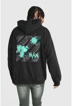 Black Oversized Graffiti MAN Back Print Hoodie