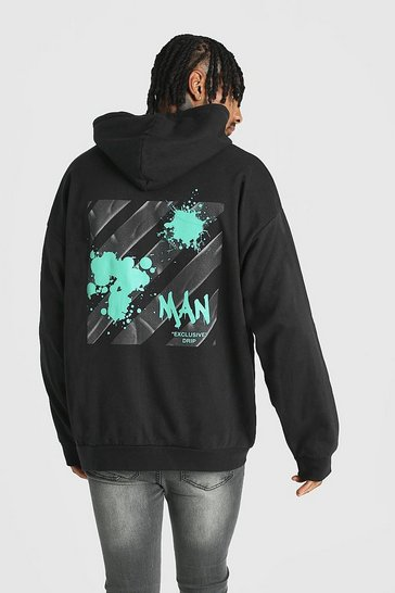 Mens Black Oversized Graffiti MAN Back Print Hoodie