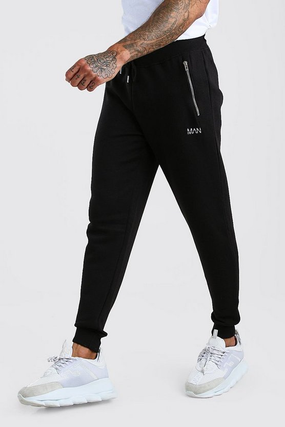 Black MAN Skinny Fit Jogger With Zip Pockets