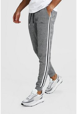 Mens Grey MAN Signature Jacquard Cuffed Jogger With Tape