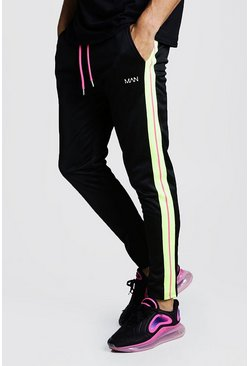 Mens Black Original MAN Print Tricot Yellow Side Stripe Jogger