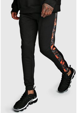 Mens Black Skinny Fit Jogger With Camo Side Panel