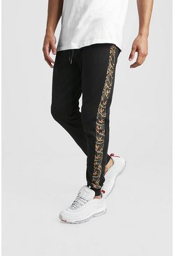 Herr Black Skinny Fit Jogger With Baroque Side Panel