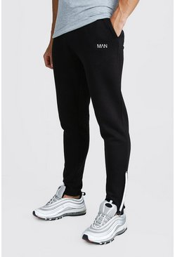 Mens Black MAN Skinny Joggers With Reflective Zip Detail