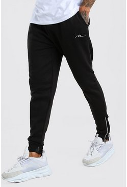 Black MAN Signature Joggers i skinny fit med dragkedjor
