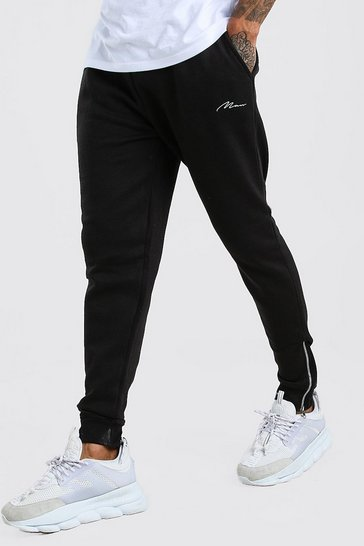 Black MAN Signature Skinny Fit Jogger With Zips