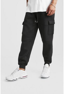 Black Loose Fit Panelled Cargo Jogger