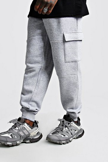 Mens Grey Loose Fit Panelled Cargo Jogger