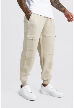 Mens Sand Loose Fit Panelled Cargo Jogger