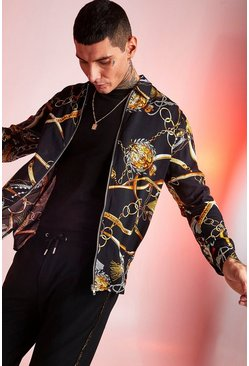 Mens Black Long Sleeve Zip Through Baroque Shirt