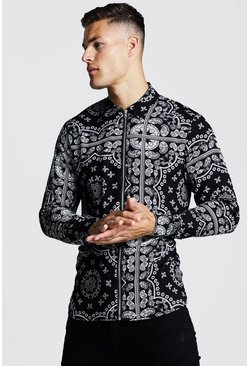 Herr Black Long Sleeve Printed Zip Through Shirt