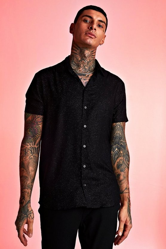 Black Metallic Flex Short Sleeve Shirt