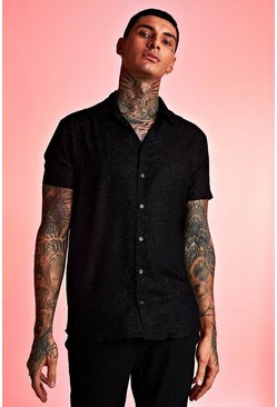 Mens Black Metallic Flex Short Sleeve Shirt