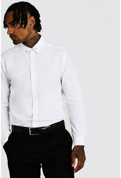 White Smart Cotton Shirt With Collar Bar