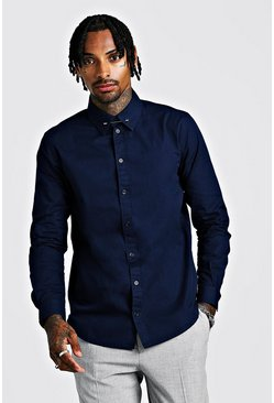 Mens Navy Smart Cotton Shirt With Collar Bar