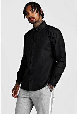 Mens Black Smart Cotton Shirt With Collar Bar