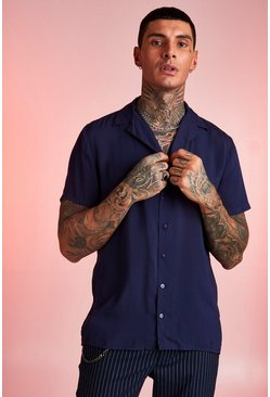 Herr Navy Viscose Short Sleeve Shirt