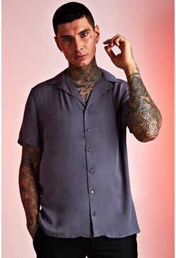 Herr Charcoal Viscose Short Sleeve Shirt