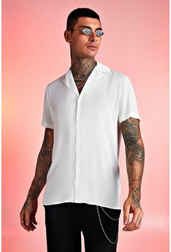 White Viscose Short Sleeve Shirt