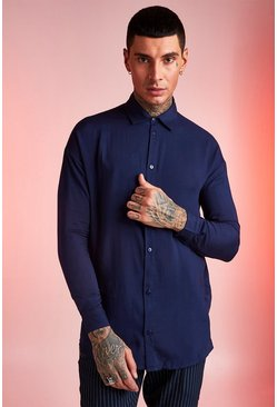 Mens Navy Viscose Long Sleeve Shirt