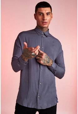 Mens Charcoal Viscose Long Sleeve Shirt