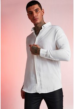 Mens White Viscose Long Sleeve Shirt