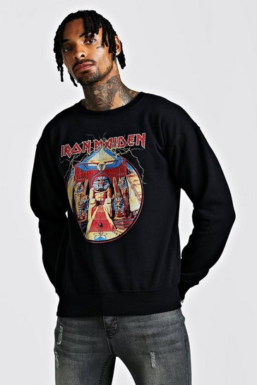 Mens Black Iron Maiden License Sweatshirt
