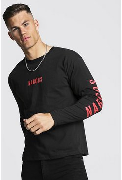 Black Narcos Long Sleeve License T-Shirt