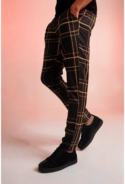 Mens Black Chain Print Slim Fit Trousers