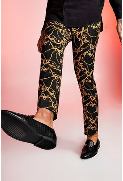 Black Baroque Printed Skinny Fit Formal Trouser