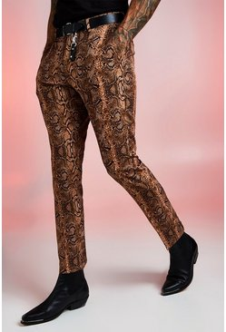 Herr Brown Snake Print Skinny Fit Smart Trouser