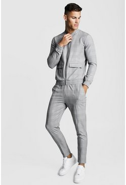 Mens Grey Woven Check Smart Twin Set