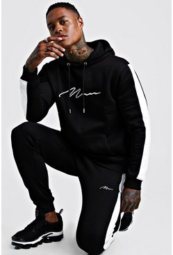 Mens Black Contrast Panel Tracksuit With White Man Embroidery